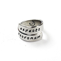 Expecto Patronum Harry Potter Inspired Ring, Hand Stamped Aluminum Wrap Ring, Harry Potter Fan Gift
