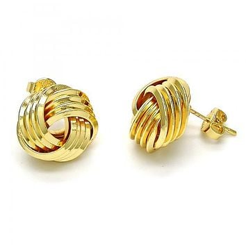 Gold Layered 02.63.2380 Stud Earring, Love Knot Design, Polished Finish, Golden Tone