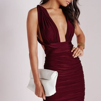 DO ME ANY WAY MULTIWAY SLINKY BODYCON DRESS BURGUNDY