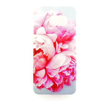 Samsung Galaxy S6 Edge Pink Flower Floral Case Hard Plastic Romantic Galaxy S6 Edge Back Cover Samsung S6 Edge Cover Floral Pattern Roses