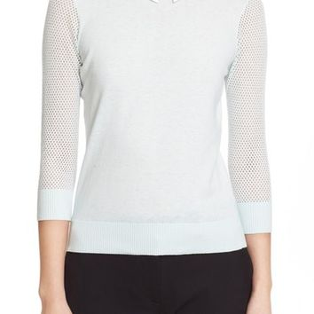 Ted Baker London Embellished Collar Mesh Sleeve Sweater | Nordstrom