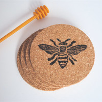 Set of 4 rustic hand stamped cork honey bee coasters.