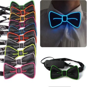Fashion Men LED EL Wire Necktie Luminous Neon Flashing Light Up Bow Tie For Club Cosplay Evening Party Decoration FS99