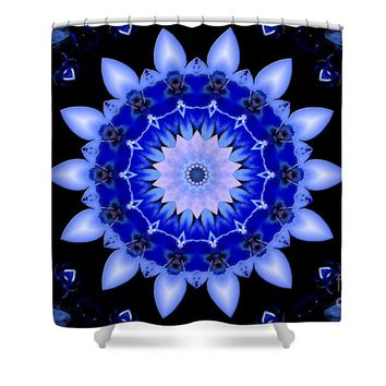Blue Floral Kaleidoscope Mandala Shower Curtain for Sale by Tigerlynx Art