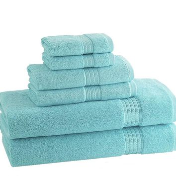 CLASSIC EGYPTIAN TOWELS | Set of 6 | Caribbean Blue