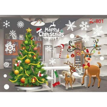 Popular Christmas Decoration Glass Window Stickers Santa Claus And Snow Tree Film Removable Wall Stickers window film patterns