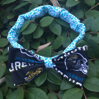 Jacksonville Jaguars Teal Bow Headband; NFL; Football; Game Day; Hair Accessories