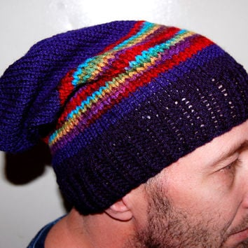 Blue and Tie Dye colored Skiing Hiking Winter Fall Easy Care Men's Hat Beanie Tam Slouchy