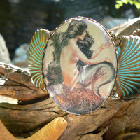mermaid cuff verdigris shell cuff bracelet black haired mermaid cameo siren fantasy resort wear cruise wear beach wear hipster gypsy boho