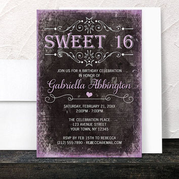 Black Grunge Purple Sweet 16 Invitations - Girls Sweet Sixteen Party - Printed Invitations