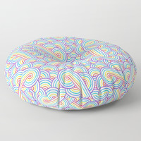 Rainbow and white swirls doodles Floor Pillow by Savousepate