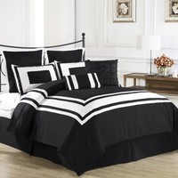 Lux Decor 8pc Comforter Set Black, White Stripe - FULL size Bedding