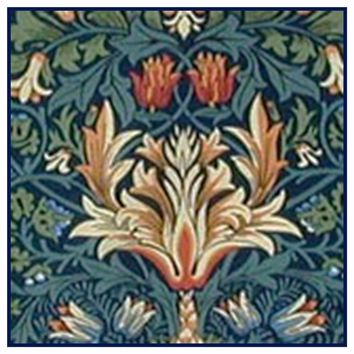 Arts and Crafts Snakeshead Blues by William Morris Design Counted Cross Stitch or Counted Needlepoint Pattern