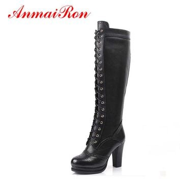 ANMAIRON High Quality Sexy Winter Boots Women Thigh High Boots New Lace Up Knee Corium Boot Women High Heels Retro Knight Boots