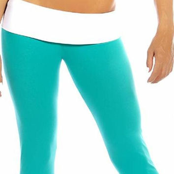 Sexy Roll Down Sport Band Stretch To Fit Shred Capri Yoga Leggings - Teal/White