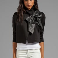 Alice + Olivia Shandy Side Leather Bow Cropped Jacket in Black from REVOLVEclothing.com