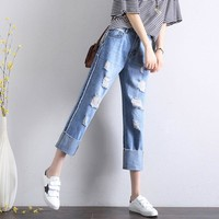 All-match Fashion Casual Irregular Ripped Worn Beggar Crimping Long Pants Loose Jeans
