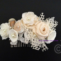 Ivory Beach Wedding Hair comb, sea shell lace, beaded venice lace. bridal headpiece, summer wedding 2014