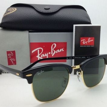 New CLUBMASTER Ray-Ban Sunglasses RB 3016 W0365 Black & Gold w/G-15 Green Lenses