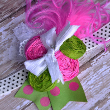 No Boys Allowed boutique headband - hot pink, green with polka dots - Spring - Summer - Photo prop - Shabby Chic