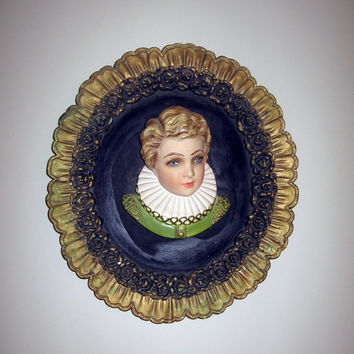 "Renaissance Boy Chalkware Wall Cameo Plaque vintage French Shabby chic Large 16"" x 14"" English Downton Abbey Decor"