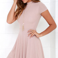 Endless Entertainment Blush Short Sleeve Skater Dress