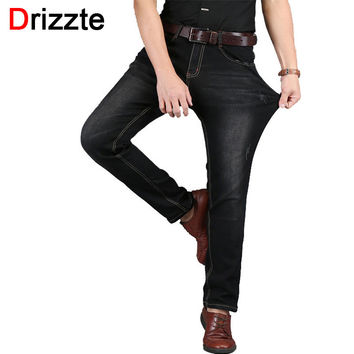 Men Jean Blue Black Denim Stretch Jeans Pants Distressed Pockets Jeans Trousers
