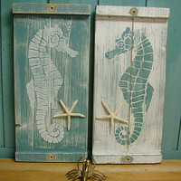 Seahorse Wall Art Wood Wooden Beach House Decor - One Small Panel - Make a Headboard by CastawaysHall
