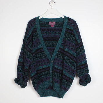 Vintage 1980s Sweater Teal Green Purple Black Striped Textured Knit V Neck Cardigan 80s Sweater Slouchy Cosby Sweater Boyfriend Sweater L XL