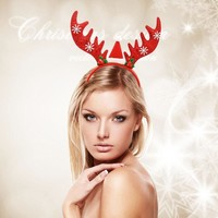 Christmas Sequin Antlers Head Buckle Headband Hair Accessories Decorations Silent Night Party Supplies