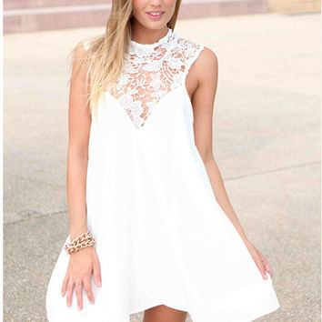 Women's Fashion Sexy Backless Lace Hollow Out Chiffon Maxi Dress White Sleeveless Vest One Piece Dress