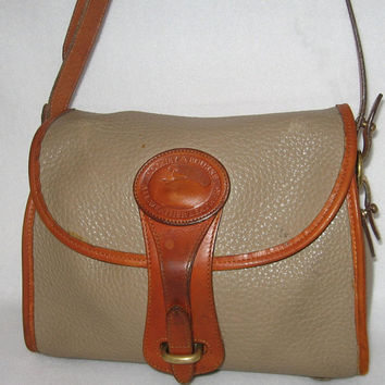 Dooney And Bourke Vintage Purse All Weather Leather Taupe and British Tan Shoulder Bag