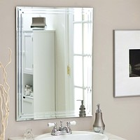 Rectangular 31.5-inch Bathroom Vanity Wall Mirror with Contemporary Triple-Bevel Design