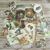17 Piece Retro Kitten Ephemera Pack / Cat Ephemera Pack / Vintage Kitten Embellishment Set / Retro Children's Book Images / Kitten Cards