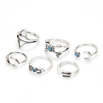 6PCS Arrow Stack Ring Band Rings Set INY66