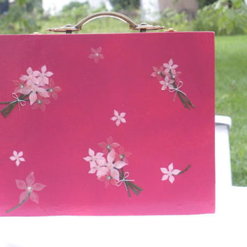 cigar box purse pink flowers by madebymandy35 on Etsy