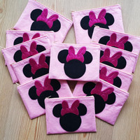 Minnie  Mouse Birthday Theme Zip Purses Set of 10 , Minnie Mouse Party,Makeup Bag, Coin Purse, Small Accessory Pouch ,FREE SHIPPING
