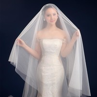Wedding veil 2017 solid color bride wedding dress soft yarn 3 meters long trailing wedding accessories short bridal veil