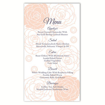Wedding Menu Template DIY Menu Card Template Editable Word File Instant Download Peach Menu Floral Menu Template Rose Printable Menu 4x7inch