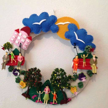 Front door wreath, Outdoor wreath, Welcome sign, Front door decor, Welcome wreath, Front door decoration, Front door hanger, All Year Wreath
