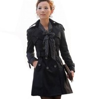 Womens Double-breasted Beltted Trench Coat Free Scarf