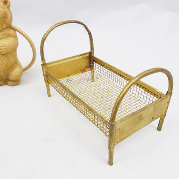 """Small German Metal Doll Bed, Painted Gold, 4 3/8"""" Long, Early 1900s, Vintage Doll House Bed with Celluloid Baby and Bottle"""