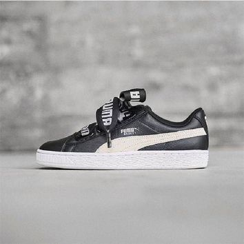 Best Deal Puma Suede Heart Satin II Bow tie Sneakers Women Fashion shoes 364082-01-02-03