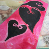 Black & Red Hearts filled with Love Watercolor by MaMooBoo on Etsy