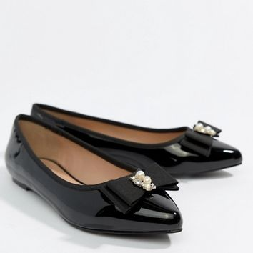 Miss KG Pearl Bow Flat Point Shoe at asos.com 0454d6660b