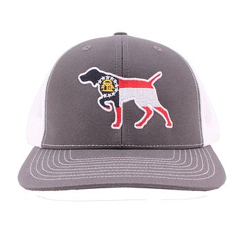 Georgia Flag Pointer Trucker Hat in Charcoal and White by Southern Snap Co.