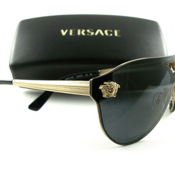 New Versace Sunglasses VE2161 Gold Black 1002/87 Authentic