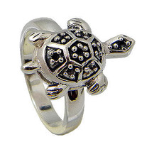 Tortoise Sterling Silver Unisex Ring by jewelkingthai on Etsy