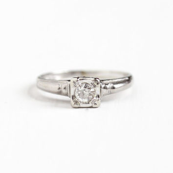 Vintage 14k White Gold 1/5 Carat Old European Cut Diamond Ring - 1940s Size 6 1/4 Solitaire Wedding Engagement Fine Bridal Jewelry