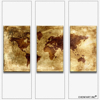 3 piece combination on set print on canvas wall painting map of the world flower painting Modern Painting printed no frame